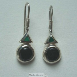 Boucles en argent et pierres onyx noir/ et agate verte