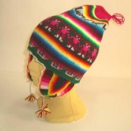 Bonnet à oreilles péruvien coloré en laine acrylique