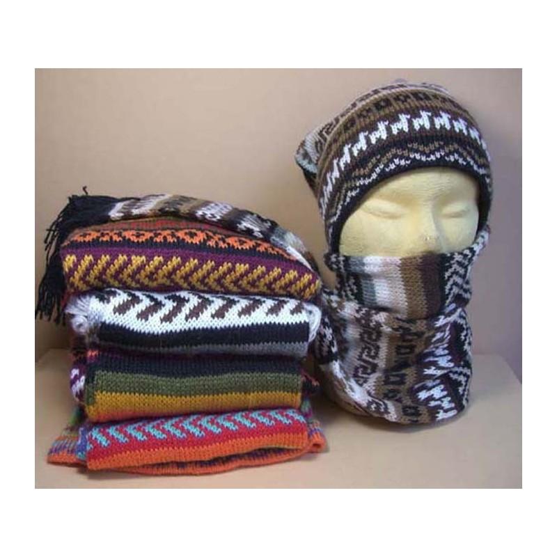 Bonnet et écharpe à la fois en laine du Pérou 2da5cf4e8c0