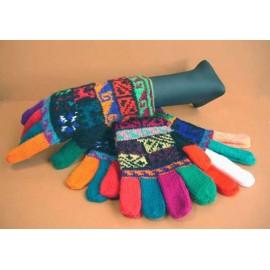 Gants multicolors du Pérou en laine acrylique
