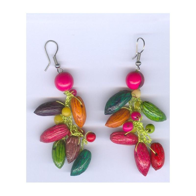 Boucles d 39 oreilles en noyaux olives color s - Porte boucle d oreille pas cher ...