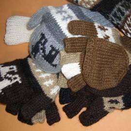 Mitaines moufles du Pérou en laine naturelle