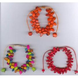 BTGR9 Bracelet rocailles de tagua teintées