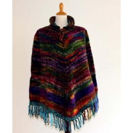 Poncho péruvien de Juliaca en laine acrylique chinée