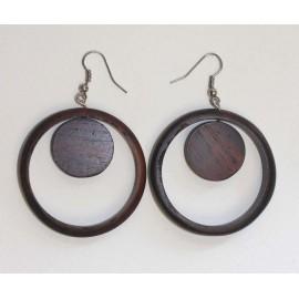 Boucles d'oreilles doubles en bois à prix discount