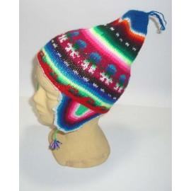 Bonnet péruvien authentique à oreilles en laine acrylique