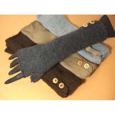 Mitaines longues sans doigts en laine alpaga du Pérou. 393a83c8b76