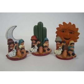 Crèche en céramique forme soleil lune cactus