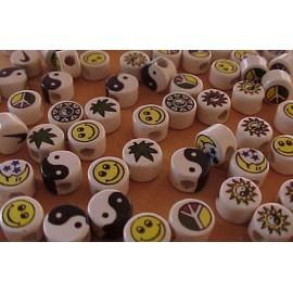 PERLES PASTILLE Perles en céramique émaillée
