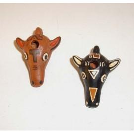 Ocarina tete de taureau en céramique