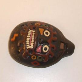 Ocarina avec masque en relief en céramique