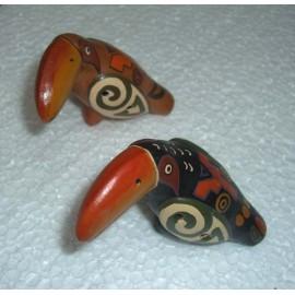 Ocarina en céramique en forme de toucan