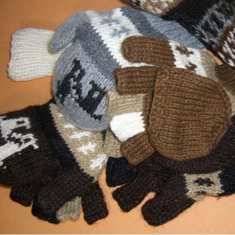 Moufle mitaine transformable fabriquées artisanalement au Pérou. e125ec4efb5