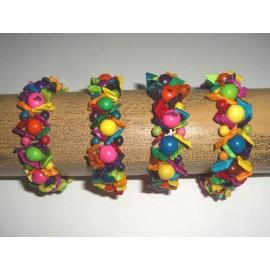 B189 Bracelet en coquillage et açaïs teintées