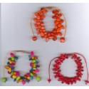 Bracelets péruviens en rocailles de tagua teintées