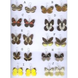 Boucles d'oreilles en ailes de papillons doubles