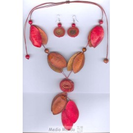 C302 SET colliers boucles en écorce orange