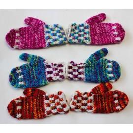Gants enfants péruviens multicolors en laine acrylique