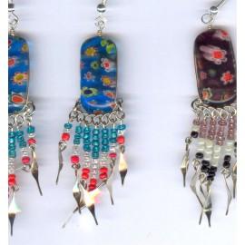 Boucles à fleurs du Pérou métal et verre fusion