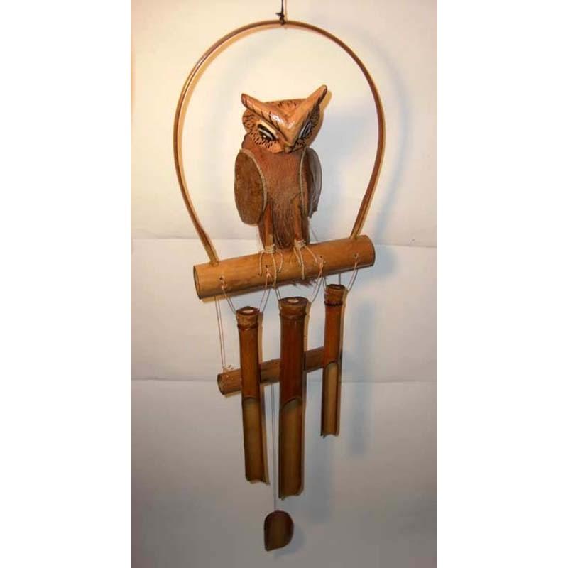 cloches carillon avec hiboux en bambou de bali vendus pas cher. Black Bedroom Furniture Sets. Home Design Ideas