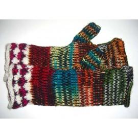 Mitaines longues multicolores du Pérou en laine acrylique