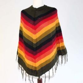 Poncho court coloré du Pérou en laine