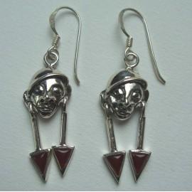 Boucles d'oreilles en argent 925 et pierres cornaline