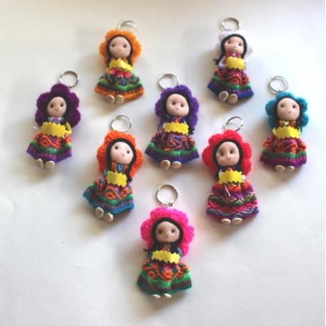 Porte clés poupée en laine