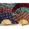 Eventails de Bali GRANDS en tissu batik et bambou