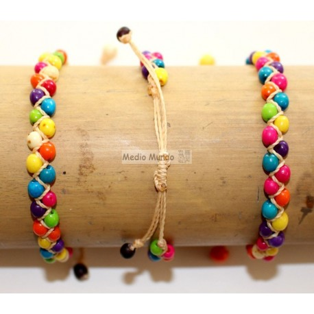 Bracelets péruviens macramé en graines