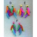 Boucles d'oreilles en bâtonnets de tagua dentelés