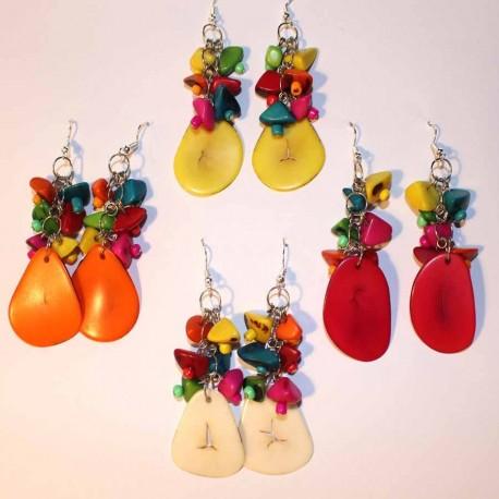 Boucles oreilles en pétales de tagua et graines acai